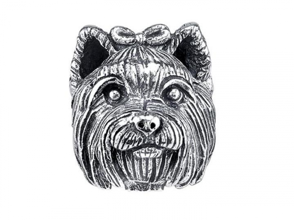 Sterling Silver Yorkshire Terrier Bark Bead by Bark Beads