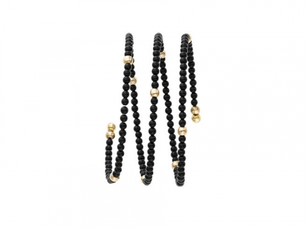 Ladies Onyx & Gold Bangle Bracelet by Phillip Gavriel