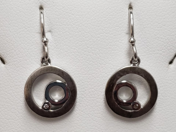 Ladies Sterling Silver & Diamond Earrings by Bentelli